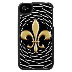 Golden Fleur De Lis Vortex iPhone 4 Cases