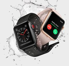 Apple Watch Edition Gray Ceramic Case with Gray/Black Sport Band in 38mm and 42mm. With built-in cellular. Learn more at apple.com