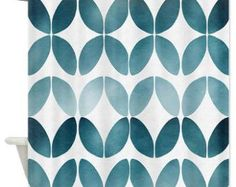 Blue Shower Curtain  - Chic Pattern - Cloudy blue teal, turquoise ,blue, fade , ombre , minimalist, minimal bathoom decor