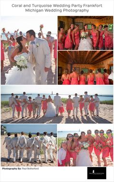 Coral and Turquoise Wedding Photography colors west northern Michigan in Frankfort, Michigan by Paul Retherford #Wedding #Frankfort #NorthernMichigan