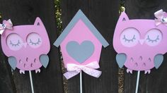Owl Theme Birthday Centerpiece set of 3 by SweetBugABoo on Etsy, $16.00