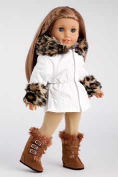 Winter Fun - American Girl Doll Coats, Snow Parka with Fur Trim, Leggings, Boots #DreamWorldCollections