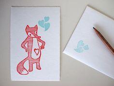 heart fox  handprinted postcard von SiebenMorgen auf Etsy, €5,00