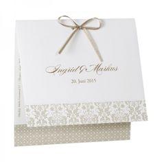 1,64 Edle Hochzeitskarte mit Ornamentdruck und Schleife
