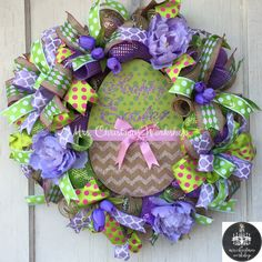 Easter wreath Deco mesh wreath Easter by MrsChristmasWorkshop