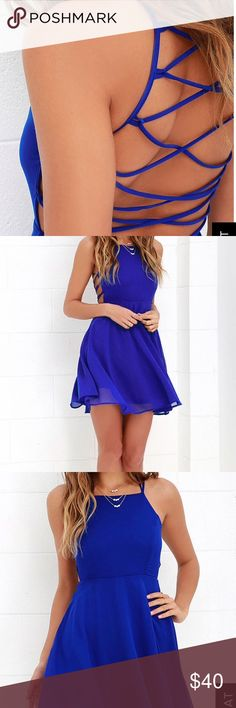 Royal blue lace-up dress Never worn! NWT LULUS Royal blue light weight lace up dress ! Size small! Great for a spring or summer wedding or any formal occasion! Fully lined! LOVED THIS DRESS SO MUCH JUST DID NOT FIT ME IN THE RIGHT WAY! Lulu's Dresses