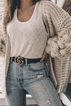 white burnout tank top + vicidolls chunky knit cardigan baggy sweater + gucci belt outfit + h Cute Fall Outfits, Classy Outfits, Trendy Outfits, Summer Outfits, Stylish Dresses, Summer Wear, College Winter Outfits, Chic Outfits, Back To School Outfits For College