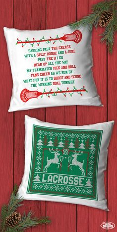 Add some festive flair to any room with these fun Christmas lacrosse throw pillows!