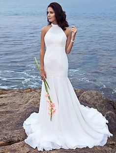 Trumpet/Mermaid Halter Sweep/Brush Train Chiffon Beach Wedding Dress