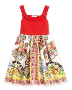 Fan-Print A-Line Dress, Red/Multicolor, Sizes 8-12