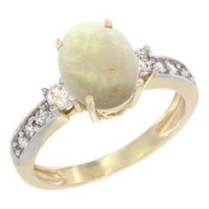 Sabrina Silver 10K Yellow Gold Natural Opal Ring Oval 9x7 mm Diamond Accent  sizes 5 - 10