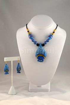 Terracotta Peacock Feathers Necklace and Earring Set