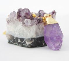 Raw Amethyst Gold Necklace Purple Stone Necklace Amethyst Crystal Pendant Mineral Jewelry Gift for her