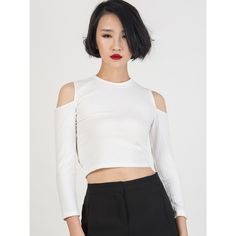 Choies White Cold Shoulder Crop Tight Knitted Sweater (17 CAD) ❤ liked on Polyvore featuring tops, sweaters, white, cutout shoulder sweater, open shoulder top, cutout shoulder top, white cold shoulder top and cropped sweater