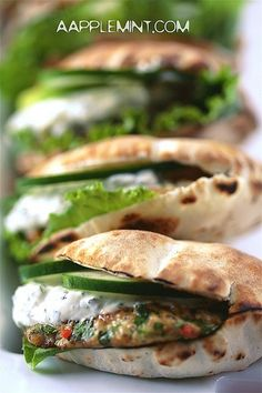 Mini Spiced Chicken Burgers in Pita, with Mint Greek Yogurt. (veggie burgers instead of chicken burgers please) Think Food, I Love Food, Food For Thought, Good Food, Yummy Food, Tasty, Chicken Spices, Chicken Recipes, Greek Yogurt Sauce
