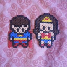 Superman and Wonder Woman hama beads by wonder_choux