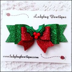 """3.5-inch bow is made with soft wool-blend felt and non-shedding glitter material.  Attached to your choice of:  2"""" french barrette lined with grosgrain ribbon 1.75"""" alligator clip, partially-lined with grosgrain ribbon, leaving the bottom prong exposed 1/8"""" skinny elastic"""