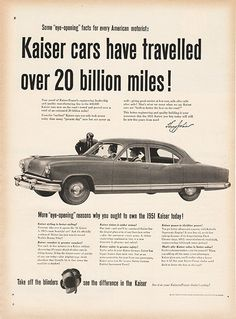 Large Antique 1951 Auto Kaiser Car Magazine Print Ad - Approx 11 x 14