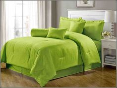 Green Twin Comforter Sets Lime Green Bedding, Lime Green Bedrooms, Green Comforter, King Size Comforter Sets, Bedding Sets Uk, King Size Comforters, Bedroom Green, Bedroom Sets, King Size Blanket