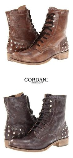 Cordani Paco Boot - cool army style boot features a distressed leather upper, silver studded detail and a lace up front.