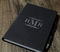 Personalized Leather Journal - 5 x 8 x Engraving will be black on all colors except RUSTIC BROWN and BLACK options) - Rustic Brown engraves to Gold - Black engraves to Silver or Gold Custom requests are welcome and more design options available here Ribbon Bookmarks, Personalized Notebook, Monogram Gifts, Leather Journal, Blue And Silver, All The Colors, Anniversary Gifts, Initials, Custom Design