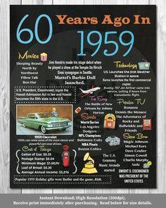 Birthday Chalkboard Poster 1959 Facts 1620 This digital poster is fi 60th Birthday Ideas For Dad, 60th Birthday Party Decorations, 60th Birthday Gifts, Dad Birthday, 60 Birthday Party Ideas, 60th Birthday Quotes, Yellow Birthday, Birthday Crafts, Mom Cake