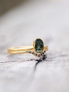 Dragon's Eye // Blue Diamond Bridal Ring Set - Gardens of the Sun Jewelry