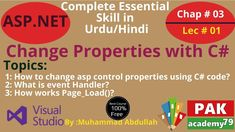 Net Change Properties with C# Topic: Change Properties with C# How to change asp control properties using C# code? What is event Handler? What Is Event, What Is Change, Teaching Methods, Programming Languages, Web Application, Textbook, It Works, Coding, Nailed It