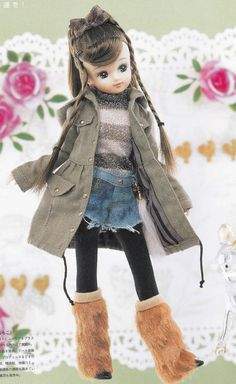 Licca Kenner Blythe doll BL body Army Coat, Pullover, Denim Shorts and Stockings set pdf E PATTERN in Japanese and Pieces Titles in English