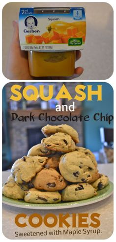 Squash and Dark Chocolate Chip Cookies.  A great way to get some extra veggies.