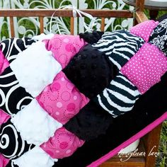 pink and black baby quilt | Glamour Baby Puff Quilt by HoneybearLane on Etsy