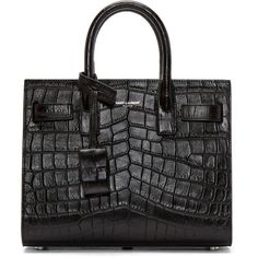 Saint Laurent Black Croc-Embossed Nano Sac de Jour Tote (£1,460) ❤ liked on Polyvore featuring bags, handbags, tote bags, crocodile tote bag, tote handbags, structured tote, yves saint laurent purses and studded handbags
