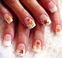 leaves applique classic french fall nails - New Sites Thanksgiving Nail Designs, Thanksgiving Nails, French Acrylic Nails, French Tip Nails, French Tips, Fall Nail Art Designs, French Nail Designs, Fingernail Designs, Nail Polish Designs