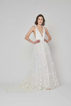 Gown A-line gown featuring a plunging neckline, hand-embroidered tulle skirt with floral appliqué, & dramatic train, Alexandra Grecco 2019 V Neck Wedding Dress, Wedding Dress Trends, Wedding Dresses Plus Size, Modest Wedding Dresses, Boho Wedding Dress, Weeding Dress, Long Dresses, Floral Wedding, Bridal Collection