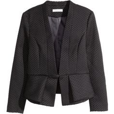 H&M Jacquard-weave jacket (68 AUD) ❤ liked on Polyvore featuring outerwear, jackets, black, flare jacket, fitted jacket, fleece-lined jackets, jacquard jacket and pleated jacket