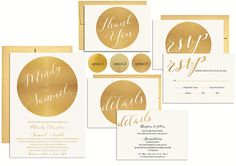 Gold Wedding Invitation Suite Printable Metallic by PucciPaperie