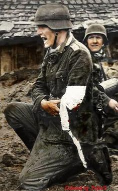 Wounded German officer, still barking out orders...