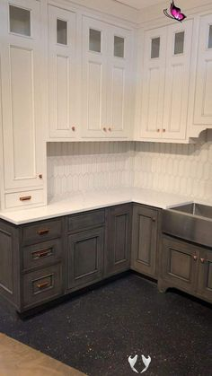 Trending kitchen color cabinets Contrasting cabinets adds interest to any kitchen.  . . #kitchen #kitchendesign #kitchenideas #kitchenremodel #kitchendecor #kitchenisland #kitchenshowroomnewyork #whitekitchen #shakerkitchen  #kitchentrends<br> Kitchen Cabinet Colors, Diy Kitchen Cabinets, Kitchen Paint, Kitchen Counters, Kitchen Layout, Painted Kitchen Cupboards, Annie Sloan Kitchen Cabinets, Gray Stained Cabinets, Kitchen Buffet Cabinet