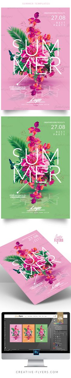 Creative Summer Flyer - Enjoy downloading the Premium Photoshop PSD Flyer / poster Template designed by Creative Flyers perfect to promote your Summer Party ! #summer #minimalist #posters #graphics #flyers #flyer #templates #summerparty #invitation #creativeflyers
