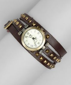 Take a look at this Brown Studded Leather Wrap Watch by ZAD on #zulily today!