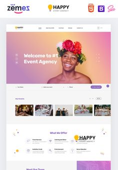 Happy is a Landing Page HTML template that was developed specifically for event agencies. Event Landing Page, Landing Page Html, Html Templates, Page Template, Landing Page Inspiration, Invitation Cards, Invitations, Event Agency, Charity Event
