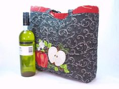 Farmer's Market Tote apples and peaches embroidery by BeautifulBagsEtc, $30.00 USD