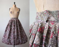 circle skirt  1950s skirt  1950's tribal print circle by Thrush, $40.00