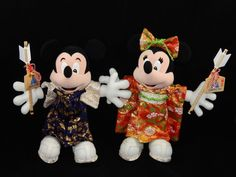 Disneyland Tokyo Mickey & Minnie Mouse Stuffed Plush with Kimono & Arrows RARE #Disney