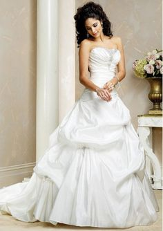 Amazing Ball-Gown Strapless Chapel Train Taffeta Wedding Dress with Ruffle Lace Beadwork