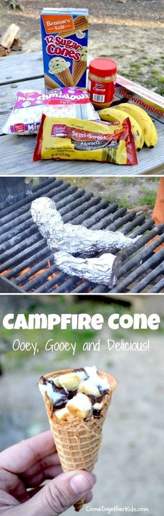 Camp Fire Ice Cream Cones ~ Sugar Cones + mini marshmallows + Peanut butter + chocolate chips + bananas + wrap in tin foil & cook on the grill = ooey goodey goodness