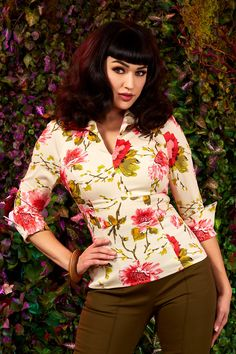 Pinup Couture Lauren Workwear Top in Peach & Green Floral | Vintage Style Blouse | Pinup Girl Clothing