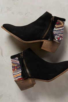 Booties made with vintage kantha fabrics and rugged kilim. LOVE.