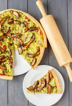 Homemade pizza dough topped with heavenly guacamole, and hearty portobello mushrooms to create this vegan guacamole pizza.