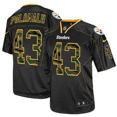 NFL Men's Elite Nike Pittsburgh Steelers #43 Troy Polamalu Camo Fashion Black Jersey$129.99